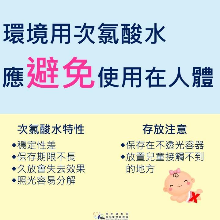 次氯酸水為環境清潔使用 應避免使用在人體(食藥署)