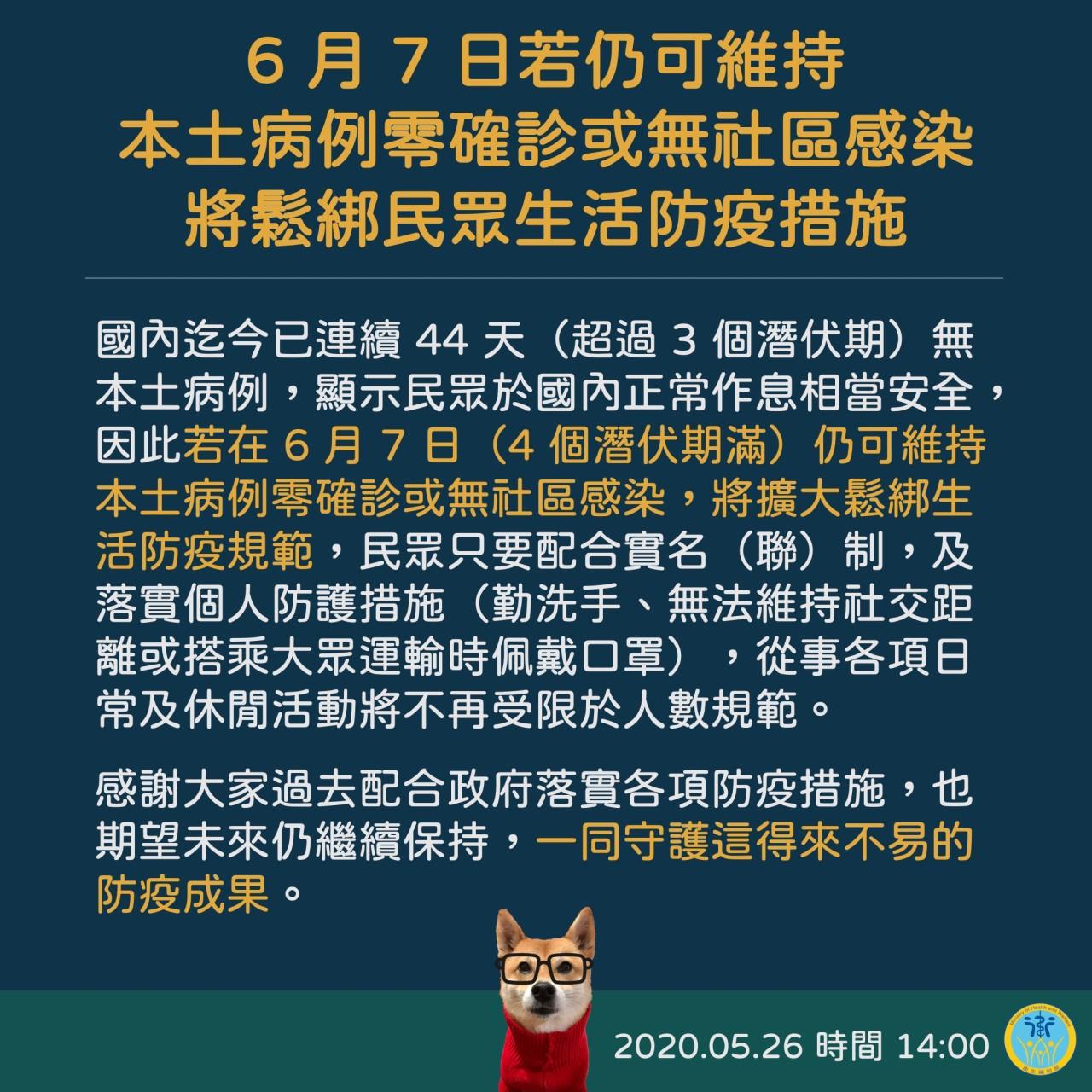 規劃於6月7日後鬆綁民眾生活防疫措施(衛福部)