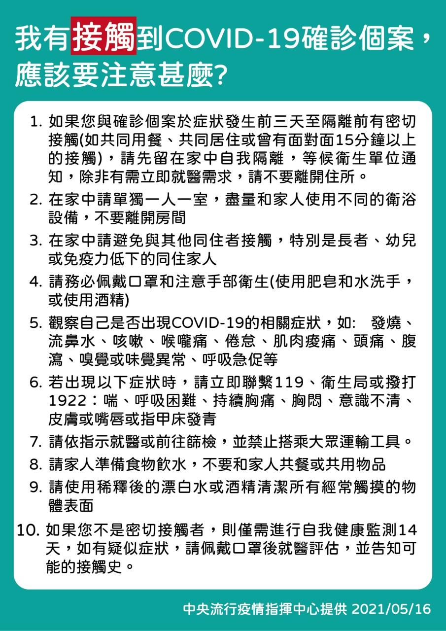 我有接觸COVID-19確診個案,應該注意甚麼?(衛福部)