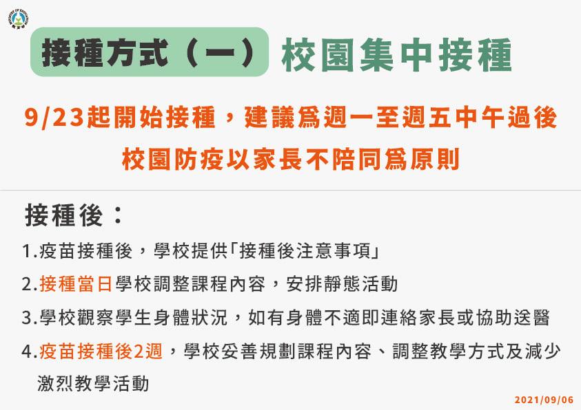 5.【學生接種BNT疫苗】接種方式(一)校園集中接種